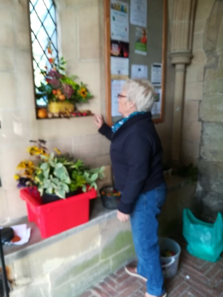 The Flower Circle hard at work decorating the Church for Harvest